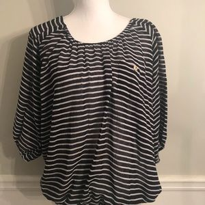 J Crew Blue and Gray Strip Top